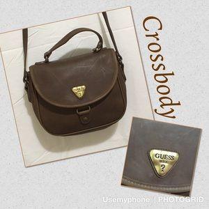 Vintage Guess crossbody purse brown brass hardware